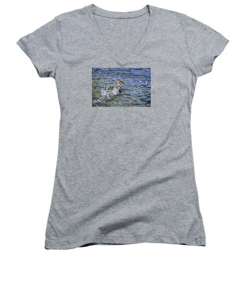 Women's V-Neck T-Shirt (Junior Cut) featuring the photograph Fish Gulp by David Lawson