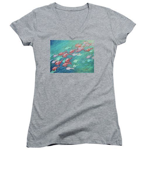 Women's V-Neck T-Shirt featuring the painting Fish In Abundance by Xueling Zou