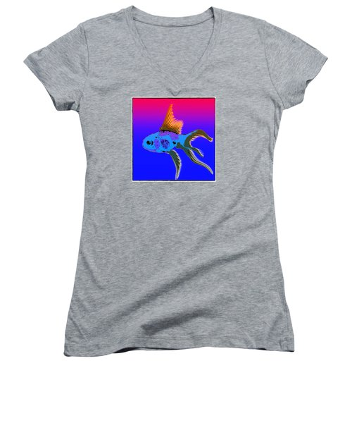 Women's V-Neck T-Shirt (Junior Cut) featuring the photograph Fish by James Bethanis
