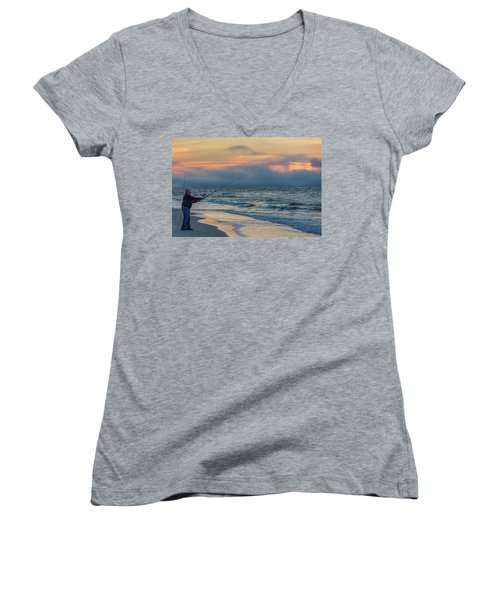 Women's V-Neck T-Shirt (Junior Cut) featuring the photograph Fish On In Alabama  by John McGraw