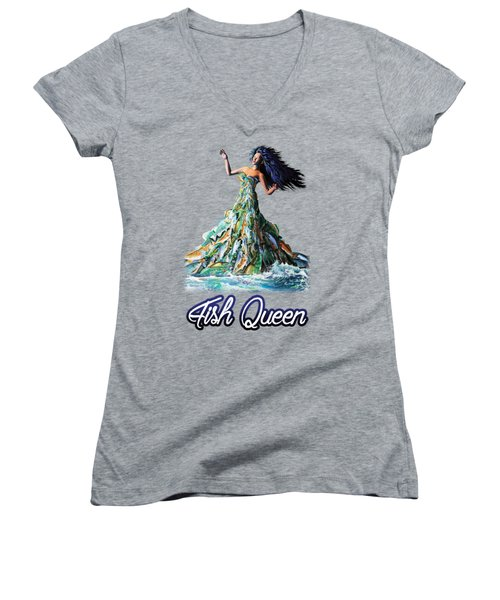 Women's V-Neck T-Shirt (Junior Cut) featuring the painting Fish Queen by Anthony Mwangi
