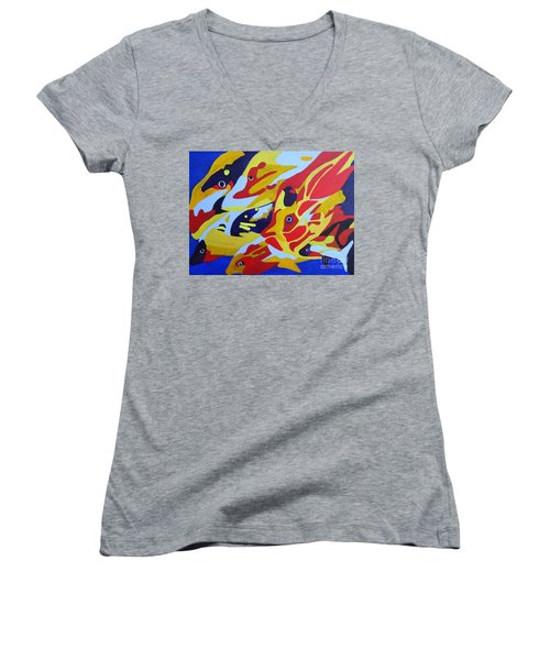 Fish Shoal Abstract 2 Women's V-Neck