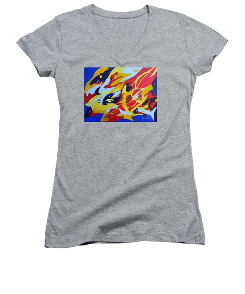 Fish Shoal Abstract 2 Women's V-Neck (Athletic Fit)