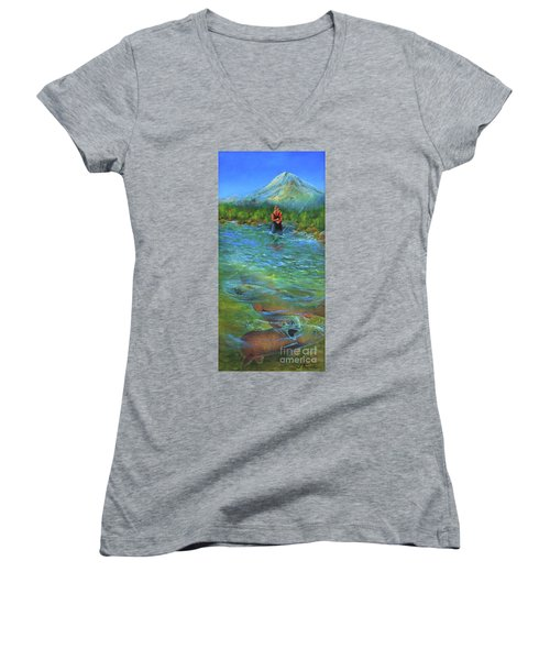 Fish Story Women's V-Neck T-Shirt (Junior Cut) by Jeanette French
