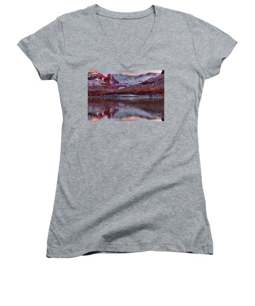 Women's V-Neck T-Shirt (Junior Cut) featuring the photograph Fisher Towers Fading Sunset by Adam Jewell