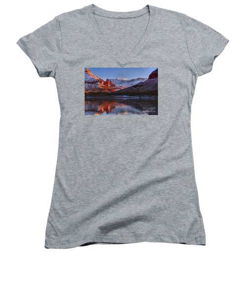 Women's V-Neck T-Shirt (Junior Cut) featuring the photograph Fisher Towers Glowing Reflections by Adam Jewell