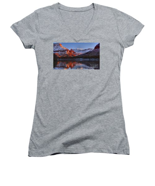 Women's V-Neck T-Shirt (Junior Cut) featuring the photograph Fisher Towers Sunset Glow Panorama by Adam Jewell