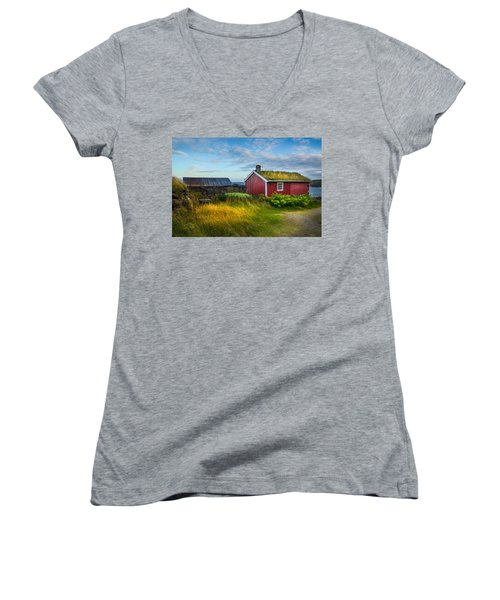 Women's V-Neck T-Shirt (Junior Cut) featuring the photograph Fisherman House by Maciej Markiewicz