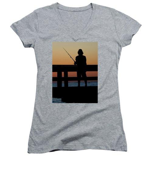 Fisherman Mount Sinai New York Women's V-Neck T-Shirt (Junior Cut) by Bob Savage