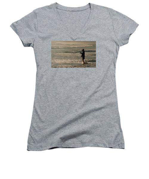 Women's V-Neck T-Shirt (Junior Cut) featuring the photograph Fisherman by Steve Karol