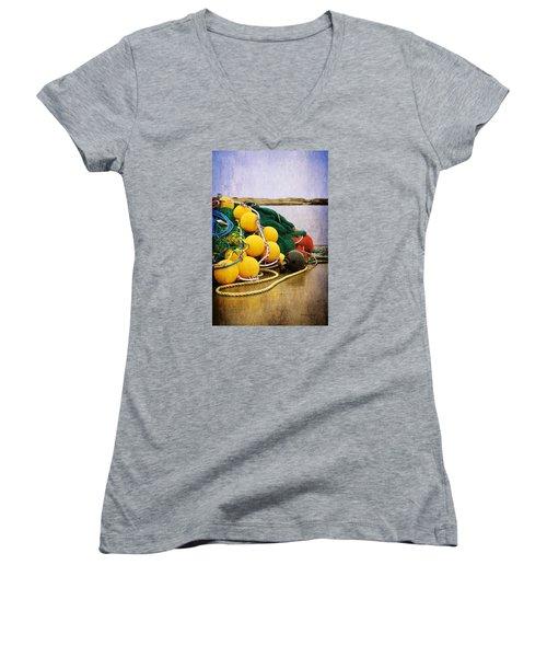 Fisherman's Net Women's V-Neck T-Shirt (Junior Cut) by Randi Grace Nilsberg