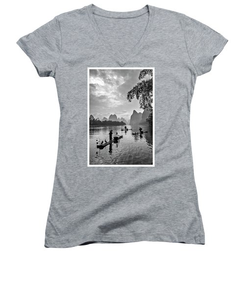 Fishermen At Dawn. Women's V-Neck
