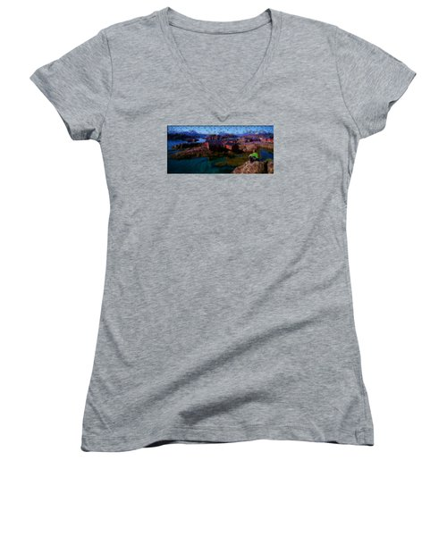 Women's V-Neck T-Shirt (Junior Cut) featuring the painting Fishermen Cabins by Mario Carini