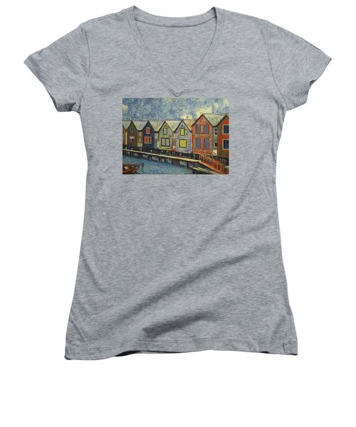 Women's V-Neck T-Shirt (Junior Cut) featuring the painting Fishermen Huts by Walter Casaravilla