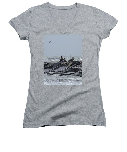 Fishermen With Seagull Women's V-Neck T-Shirt
