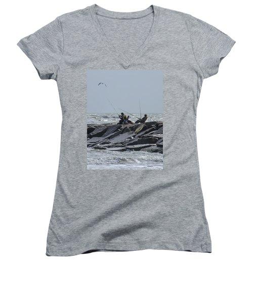 Fishermen With Seagull Women's V-Neck T-Shirt (Junior Cut) by Allen Sheffield