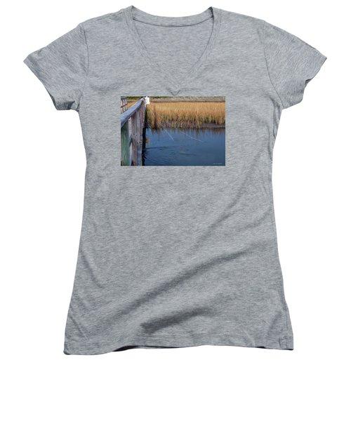 Fishin' Lines Women's V-Neck T-Shirt (Junior Cut) by Kay Lovingood