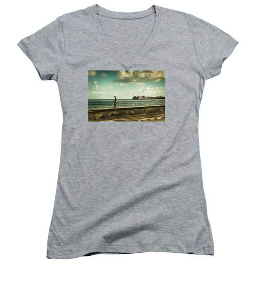 Fishing Along The Malecon Women's V-Neck (Athletic Fit)