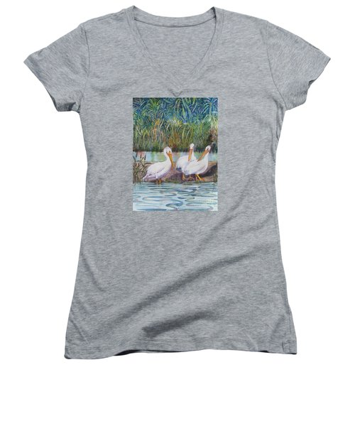 Women's V-Neck T-Shirt (Junior Cut) featuring the painting Fishing Around by Martha Ayotte