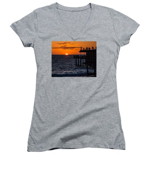Fishing At Twilight Women's V-Neck