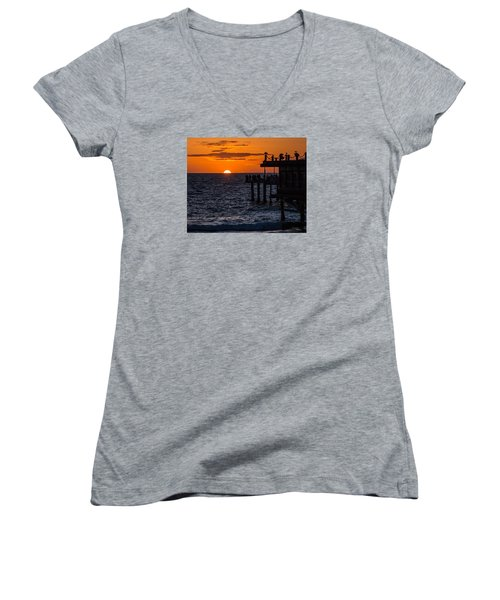 Fishing At Twilight Women's V-Neck T-Shirt