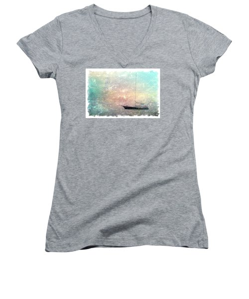Fishing Boat In The Morning Women's V-Neck (Athletic Fit)