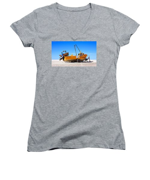 Women's V-Neck T-Shirt (Junior Cut) featuring the photograph Fishing Boat by Silvia Bruno