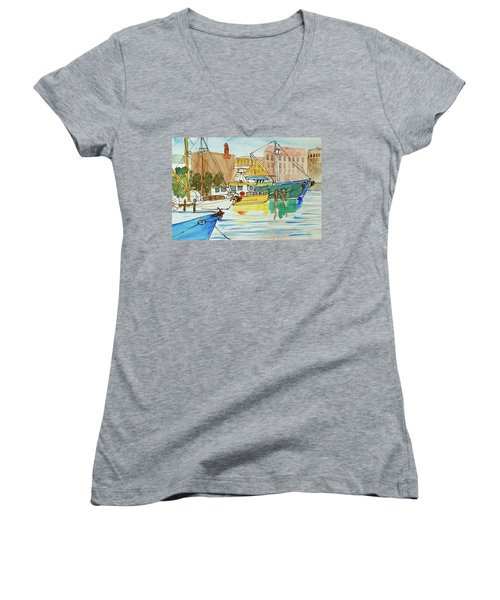 Fishing Boats In Hobart's Victoria Dock Women's V-Neck (Athletic Fit)