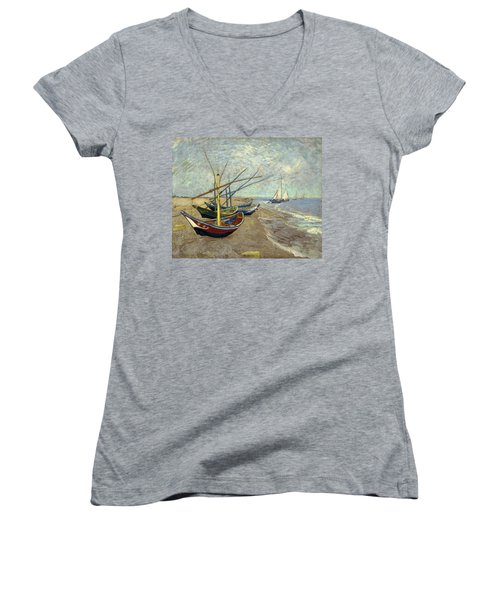 Women's V-Neck featuring the painting Fishing Boats On The Beach by Van Gogh