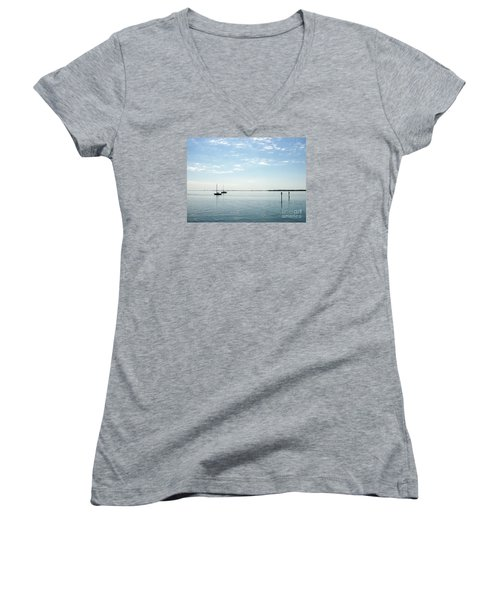 Fishing Buddies Women's V-Neck T-Shirt (Junior Cut) by Gail Kent