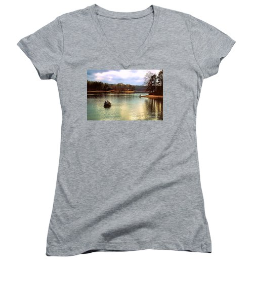 Women's V-Neck T-Shirt (Junior Cut) featuring the photograph Fishing Hot Springs Ar by Diana Mary Sharpton