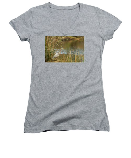Women's V-Neck T-Shirt (Junior Cut) featuring the photograph Fishing Oceano Lagoon by Art Block Collections