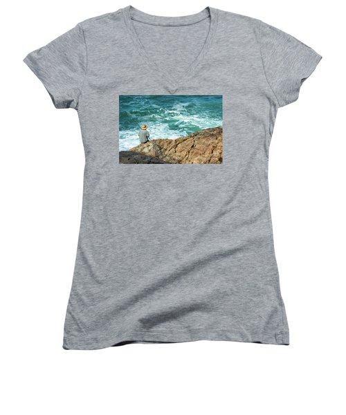 Fishing On Mutton Bird Island Women's V-Neck T-Shirt