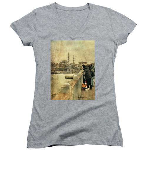 Fishing On The Bosphorus Women's V-Neck