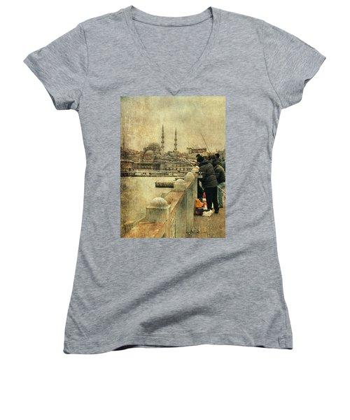 Fishing On The Bosphorus Women's V-Neck T-Shirt