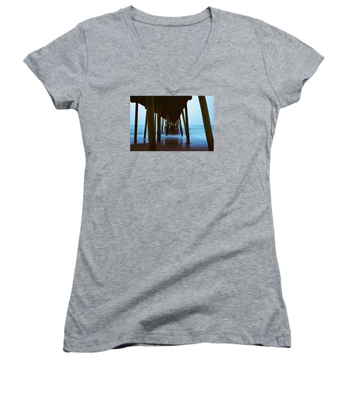 Fishing Pier Women's V-Neck T-Shirt (Junior Cut) by Scott Meyer