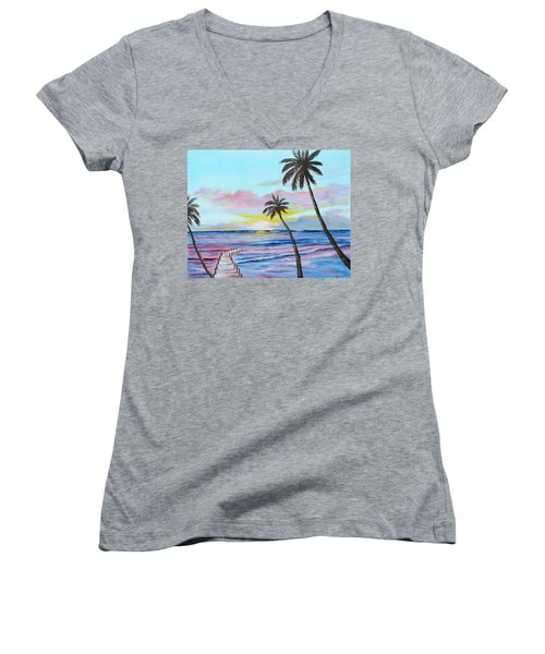 Fishing Pier Sunset Women's V-Neck T-Shirt