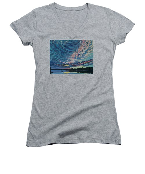 Fishing Sunset Women's V-Neck (Athletic Fit)