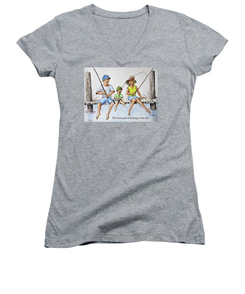 Fishing Tale Women's V-Neck (Athletic Fit)