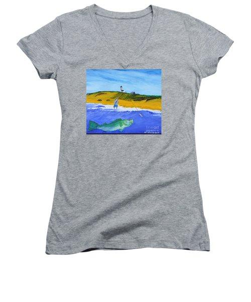 Fishing Under Highland Light Women's V-Neck T-Shirt (Junior Cut) by Bill Hubbard