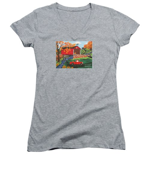 Women's V-Neck T-Shirt (Junior Cut) featuring the painting Fishing Under The  Covered Bridge by Jeffrey Koss
