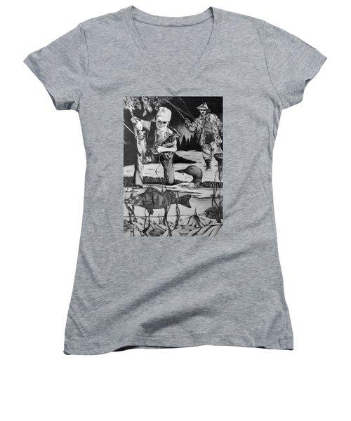 Fishing Vacation Women's V-Neck T-Shirt (Junior Cut) by Bruce Bley