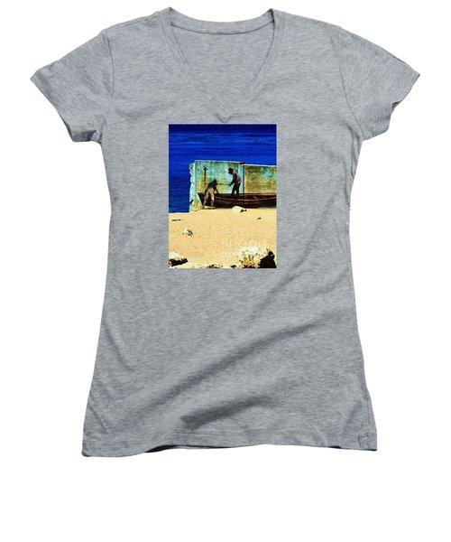 Fishing Women's V-Neck T-Shirt (Junior Cut) by Vanessa Palomino