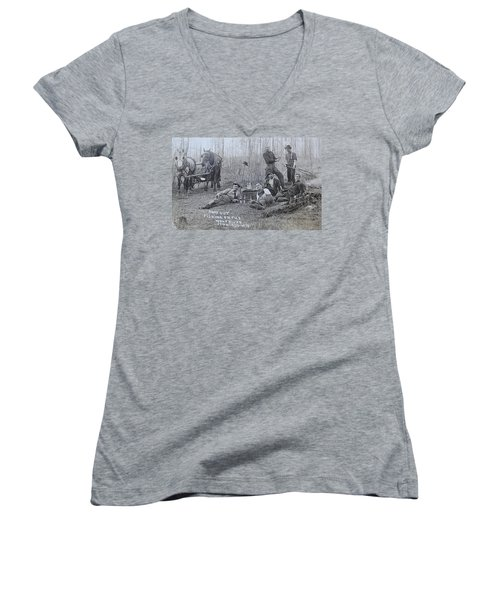 Fishing With The Boys Women's V-Neck T-Shirt (Junior Cut) by Tammy Schneider