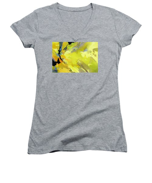 Women's V-Neck T-Shirt (Junior Cut) featuring the painting Fissures Of Time by Rae Andrews