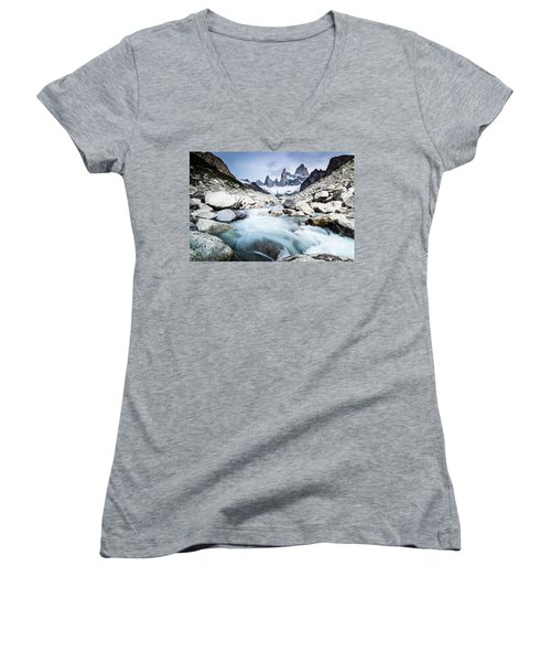 Fitz Roy On A Cloudy Day  Women's V-Neck (Athletic Fit)