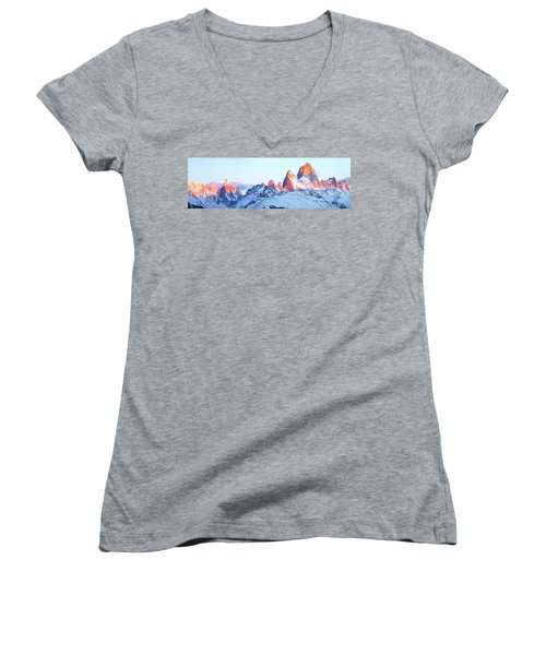 Women's V-Neck T-Shirt (Junior Cut) featuring the photograph Fitz Roy Peak by Phyllis Peterson