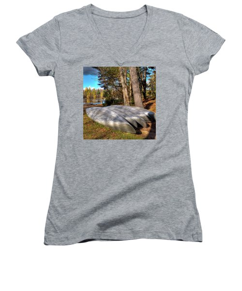 Women's V-Neck T-Shirt (Junior Cut) featuring the photograph Five Canoes At Woodcraft Camp by David Patterson