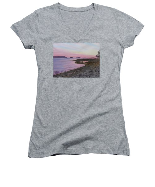 Women's V-Neck T-Shirt featuring the painting Five Islands - Bay Of Fundy by Joel Deutsch