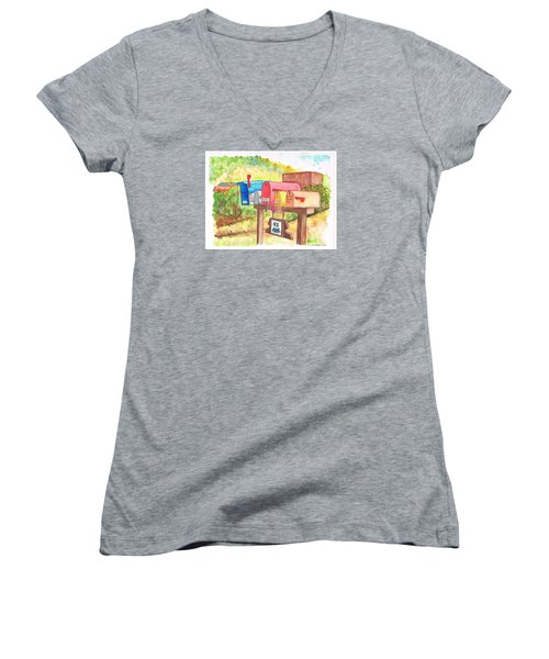 Five Mail Boxes In Route 1, San Simeon, California Women's V-Neck T-Shirt (Junior Cut) by Carlos G Groppa
